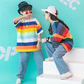 キッズ ダンス衣装 ヒップホップ セットアップ キッズダンス衣装 虹色 レインボー 上下 キッズダンス シャツ デニムパンツ ガールズ 男の子 女の子 ダンス ストリート b系 hiphop