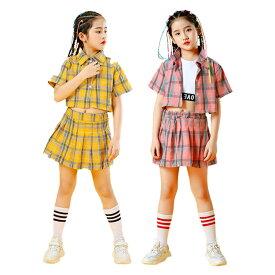 キッズ ダンス 衣装 チア キッズ チアガール ヒップホップ ヘソ出し セットアップ 女の子 スカートセット ギンガムチェック シャツ タンクトップ キッズダンス衣装 シャツ+スカート 上下 ジャッズ 舞台 韓国 ダンスウェア 演出服 おしゃれ ステージ 激安
