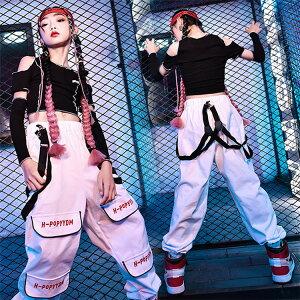 キッズ ダンス衣装 ヒップホップ セットアップ トップス 腕カバー付き 肩出し パンツ K-POP 女の子 ヘソ出し ダンスチーム ジャズ jazz チアガール チア ダンス衣装 韓国 派手 ガールズ カッコ