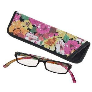 ブルーライトカット紫外線カットシニアグラス ネックリーダーズ リーディンググラスフラワー ピンク 花老眼鏡
