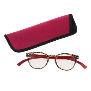 ブルーライトカットネックリーダーズ ボストン型 レッドシニアグラス 老眼鏡 べっこう柄