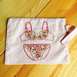 ベトナム刺繍 バッグ旅行 収納 衣類 洗濯物 ポーチ ブルー下着 ピンク ストライプ