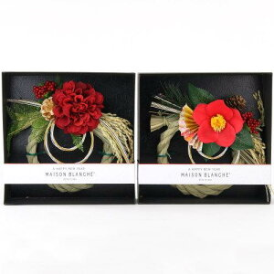 MAISON BLANCHE お正月 飾り リースメゾンブランシュエモリーポール 椿と扇子