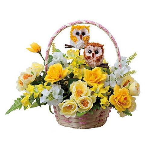 母の品 花 ギフト光の楽園 インテリアフラワー ペアフクロウ【送料無料】光触媒 人工植物 造花 インテリア プレゼント