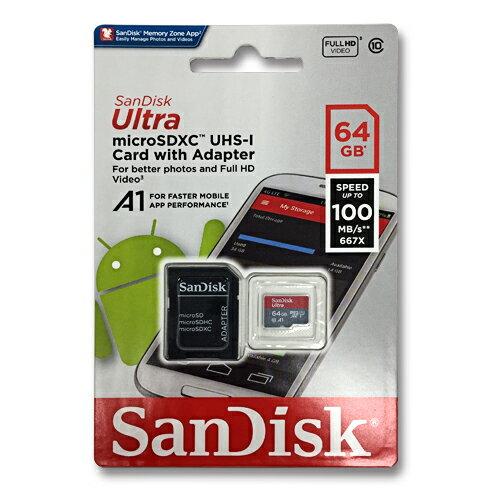 マイクロSDカード 64GB SanDiskmicroSDXC クラス10 UHS-I サンディスクSDSQUAR-064G-GN6MA100MB/s 667X A1対応