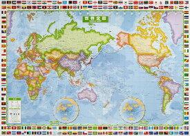 スクリーンマップ国旗入り世界全図