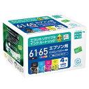 IC4CL6165互換リサイクルインクカートリッジ 4色パック ECI-E6165-4P エコリカ