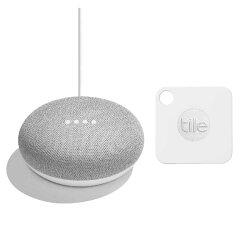 【お買い得セット】Google Home Mini チョーク + Tile Mate 通常版(落とし物、紛失防止 トラッカー)