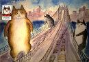 ウォールステッカー くまくら珠美(マンハッタンブリッジと猫)