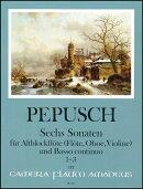 【輸入楽譜】ペープシュ, Johann Christoph: アルトリコーダーと通奏低音のための6つのソナタ 第1巻: ソナタ 第1番…