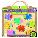 Green Start Swish Fish Chunky Wooden Puzzle: Earth Friendly Puzzles with Handy Carry & Storage Case