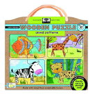 Green Start Animal Pattern Wooden Puzzle: Earthly Friendly Puzzles with Handy Carry & Storage Case