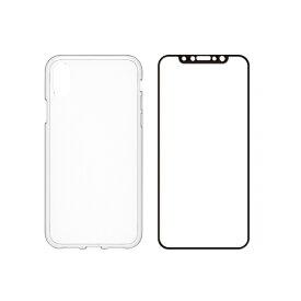 iPhone XS/X Turtle Pro ハイブリッドケース&ガラスセット クリア+BK