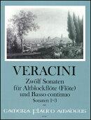 【輸入楽譜】ヴェラチーニ, Francesco Maria: アルト・リコーダーと通奏低音のための12のソナタ 第1巻: 第1番ー第3…
