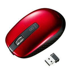 充電式ワイヤレスブルーLEDマウス レッド MA-WBL118R