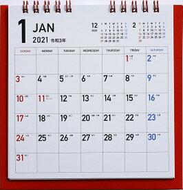 2021年版 1月始まりE183 カラフルエコカレンダー卓上 (レッド) 高橋書店 B6変型サイズ (卓上)