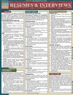 Resumes & Interviews Laminate Reference Chart CHART-QUICKSTUDY RESUMES & INT (Quickstudy: Business) [ Toby Chabon-Berger ]