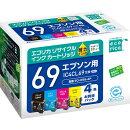 IC4CL69 互換リサイクルインクカートリッジ 4色パック ECI-E69-4P エコリカ