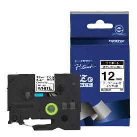 【ブラザー純正】ピータッチ ラミネートテープ TZe-M231 幅12mm(黒文字/白/つや消し)