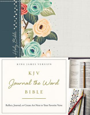 KJV, Journal the Word Bible, Hardcover, Green Floral Cloth, Red Letter Edition: Reflect, Journal, or KJV JOURNAL THE WORD BIBLE HAR [ Thomas Nelson ]