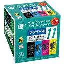 LC11-4PK 互換リサイクルインクカートリッジ 4色パック ECI-BR114P/BOX エコリカ