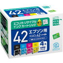IC4CL42互換リサイクルインクカートリッジ 4色パック ECI-E424P/BOX エコリカ