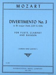 【輸入楽譜】モーツァルト, Wolfgang Amadeus: ディヴェルティメント 変ロ長調 KV Anh.229(KV 439b)/3/フルート、ク…