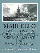 【輸入楽譜】マルチェッロ, Benedetto: 12のソナタ Op.2より 第2巻: 第4番ー第6番(アルト・リコーダーまたはフルー…