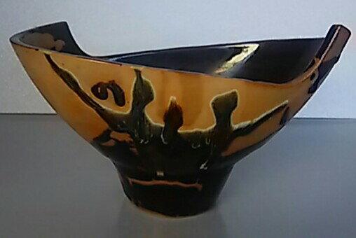 【花器・花瓶】特殊形状皿型 希少品 高さ約11cm 幅約25cm×14cm【中古品】
