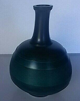 【花器・花瓶】壷型 高さ約20cm 緑色【中古品】【期間限定】送料無料