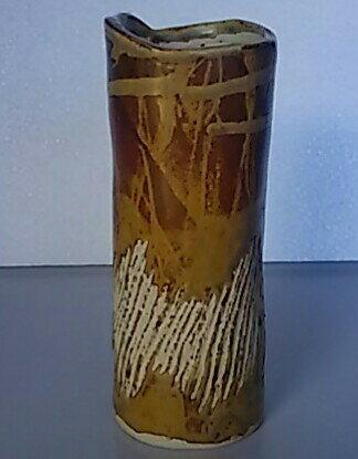 【花器・花瓶】筒型 柄 高さ約17cm【中古品】【期間限定】送料無料