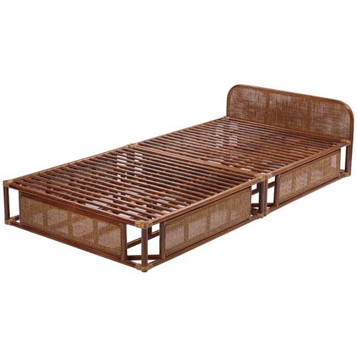 籐すのこベッド フレームのみ シングル ブラウン ラタンベッド すのこ シングルベッド 籐 ラタン 軽量 アジアン 一人暮らし ワンルーム すのこベッド スノコベッド
