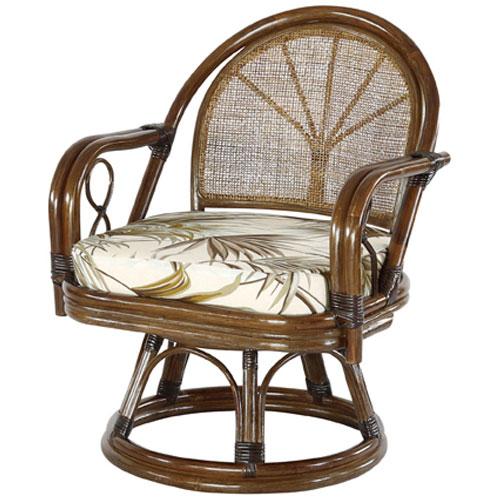 籐回転座椅子 ブラウン 籐 回転椅子 イス チェア 和 高座椅子 ラタンチェア リラックス椅子 パーソナルチェア アジアン アーム 肘掛け クッション おしゃれ