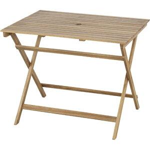 折りたたみ 木製 ガーデン テーブル 幅90cm パラソルホール付き 木製テーブル 机 つくえ ガーデンテーブル ベランダ アウトドア おしゃれ お洒落 オシャレ シンプル 折り畳みテーブル 折りた