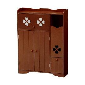 トイレ収納向け薄型キャビネット 幅50cm高さ67cm クローバー柄 ブラウン