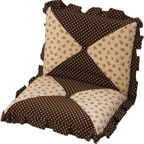 コンパクトリクライニング座椅子 ロゼット フリル付き花柄×ドット ブラウン