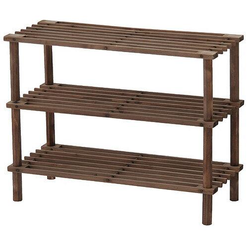 木製オープンラック 幅63cm高さ48cm 浅型3段 ブラウン 83518