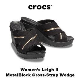 【SALE!!】Women's Leigh II MetalBlock Cross-Strap Wedge【レイ 2.0 メタル ブロック エックス ストラップ ウェッジ ウィメン】◉クロックス正規取扱店なのでご安心ください◉