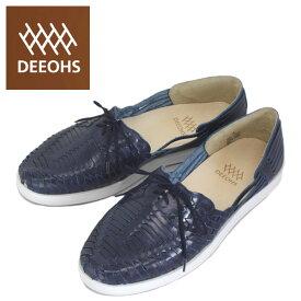 sale セール 正規取扱店 DEEOHS (ディオス) ML-1002T BETA (ベータ) 編み込み ローカット メンズ レザーシューズ navy (ネイビー) DE026