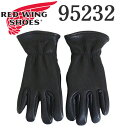 正規取扱店 2020年 新作 REDWING (レッドウィング) 95232 Leather Gloves レザーグローブ Lined Black Buckskin 裏地…
