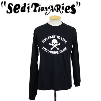 正规的经销商SEDITIONARIES by 666(sedishonarizu)TOO FAST TO LIVE L/S(tufasutoturiburongusuribu)黑色STD058