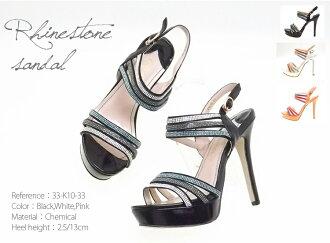 三色水钻踝带凉鞋 13 厘米鞋跟女装,鞋凉鞋 / 高高跟鞋 / 妇女 / 水钻 / 珠宝 / 10P02Aug14
