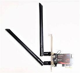 無線LANカード 2974Mbps Wi-Fi 6 802.11ax + Bluetooth 5.0 Intel Wi-Fi 6 AX200モジュール デュアルバンド(5GHz 2400Mbps / 2.4GHz 574Mbps) PCle