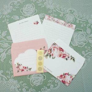 レターセット ルドゥーテブロッサム ピンク 薔薇 ローズ 日本製 便箋 封筒 シール