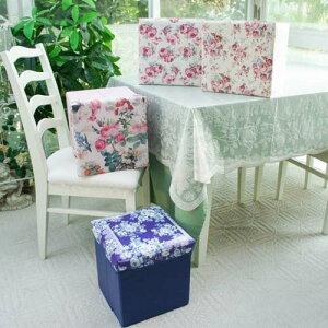 ローズ収納スツールボックス PVC素材 ルーシー・マリーマルチローズ ブルーローズ折り畳める インテリア雑貨 薔薇