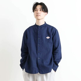 【予約商品 2月中旬〜3月上旬入荷予定】ダントン DANTONリネンクロスバンドカラーシャツ 長袖LINEN CLOTH BAND COLLAR L/S SHIRTJD-3607KLSメンズ トップス