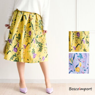 3D floral design flared skirt spring color middle length flower print-ready Gurley casual clothes polyester flared skirt system cover casual clothes down adult lady with the pretty gorgeous lining