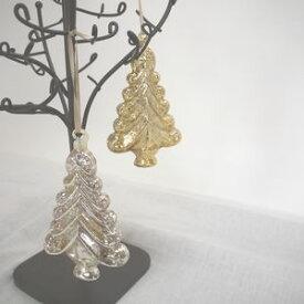グリッターGLASS ツリー オーナメント 105857GL 105857SL □□ OR1 志成 ツリーの飾り 木 飾り 置物 オブジェ クリスマスデコ クリスマスオブジェ かわいい ディスプレイ 装飾 シンプル ゴールド シルバー ガラス 北欧 プレゼント ギフト