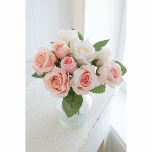 【TT-19】□【I5】ホワイトピンクローズ・ブーケ【コベントガーデン コベント ガーデン COVENT オブジェ 置物 造花 フェイクフラワー 花束 花 フラワー ディスプレイ】