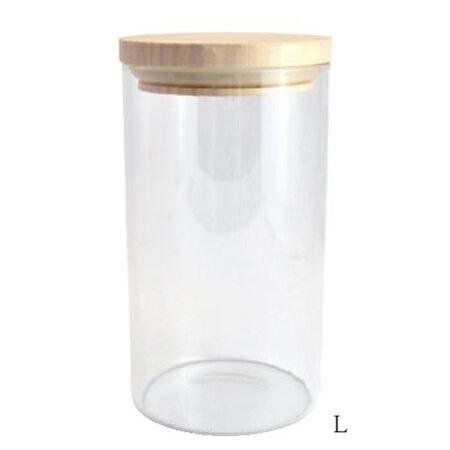 ガラス瓶 小物 ガラスウェア キャニスターL SH89 □ BL3 ガラス瓶 ガラス容器 容器 ガラス 木 ウッド 木のフタ キャンディーポット キャンディージャー 小物入れ 小物 置物 ディスプレイ CAFE レトロ クリア 駄菓子屋 カルナック